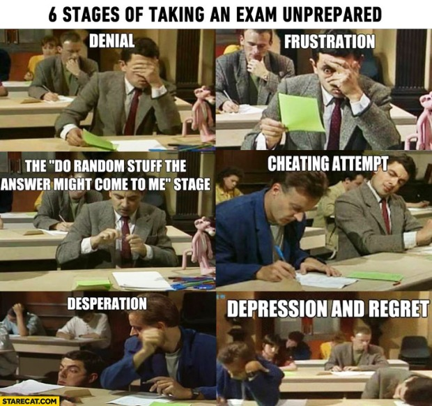 6 stages of exam